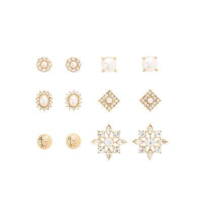Rhinestone, Pearl Bead & Etched Metal Earrings - 6 Pack