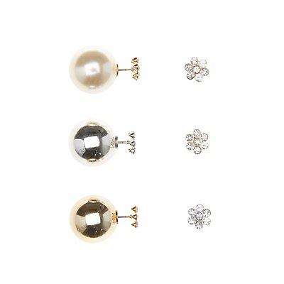 Double Sided Stud Earrings - 3 Pack