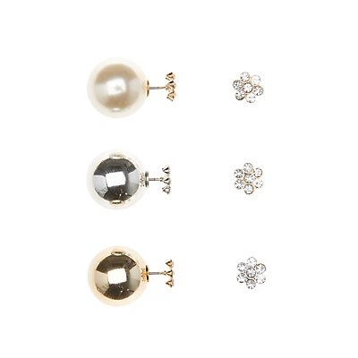 Double Sided Stud Earrings - 3 Pack