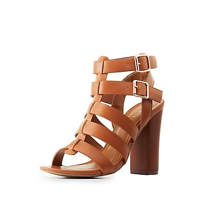 Bamboo Strappy Chunky Heel Sandals