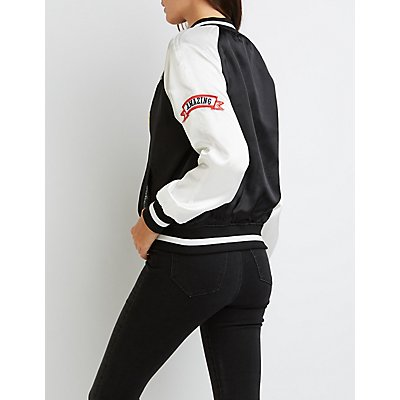 Patched Satin Bomber Jacket