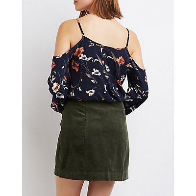 Floral Tie-Front Cold Shoulder Top