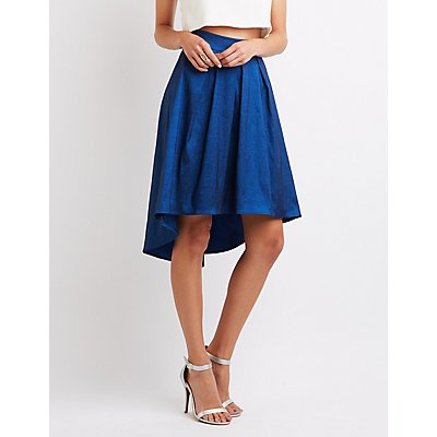 Metallic Pleated High-Low Skirt