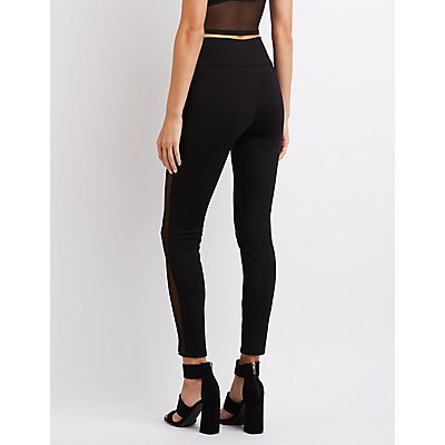 High-Rise Ponte Mesh-Trim Leggings