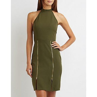 Mock Neck Zipper Detail Dress