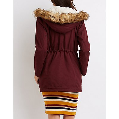 Faux Fur-Trim Anorak Jacket