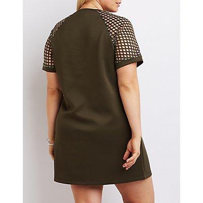 Plus Size Mesh-Trim Shift Dress