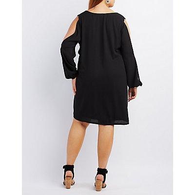 Plus Size Cold Shoulder Shift Dress