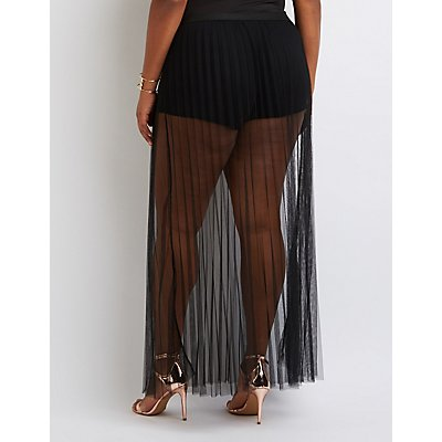 Plus Size Slit Mesh Maxi Skirt