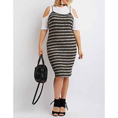 Plus Size Layered Cold Shoulder Dress