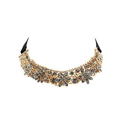 Flower Embellished Choker Necklace