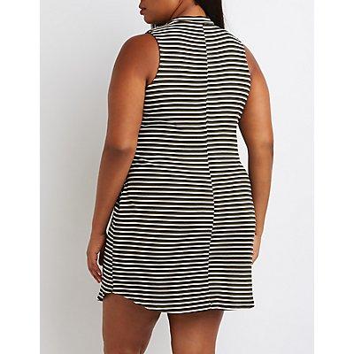 Plus Size Striped Mock Neck Keyhole Dress