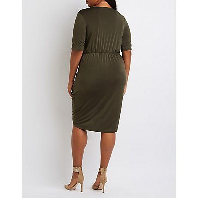 Plus Size Surplice High-Low Cocoon Dress