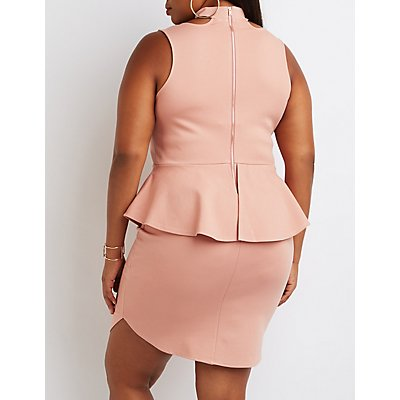 Plus Size Choker Detail Peplum Dress