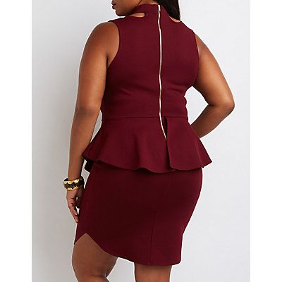Plus Size Choker Detail Peplum Dress