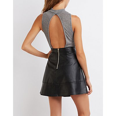 Mock Neck Open Back Bodysuit
