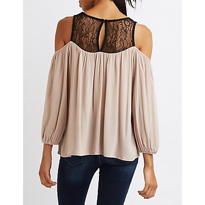 Lace Yoke Cold Shoulder Top