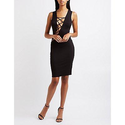 Asymmetrical Lattice Bodycon Dress