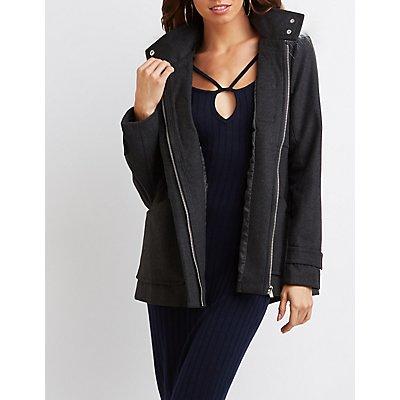 Faux Fur-Trim Hooded Coat