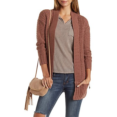 Waffle Knit Open Front Cardigan