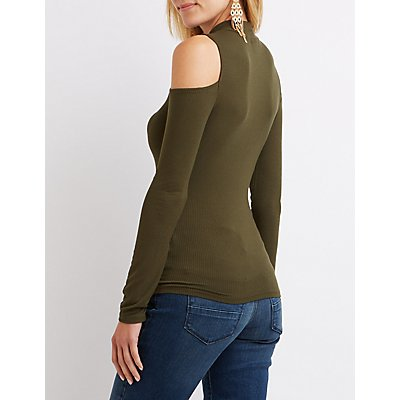 Ribbed Mock Neck Cold Shoulder Tee