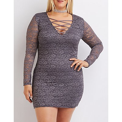 Plus Size Lace Lattice Shift Dress