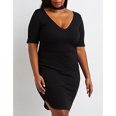 Plus Size Choker Detail Bodycon Dress