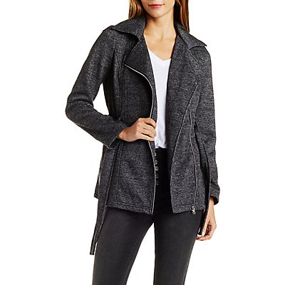 Belted Fleece Trench Coat | Charlotte Russe