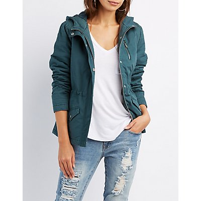 Quilted-Trim Hooded Anorak Jacket