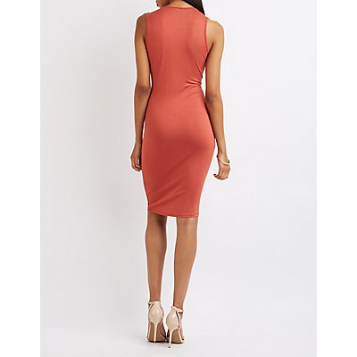 Asymmetrical Lattice Bodycon Dress