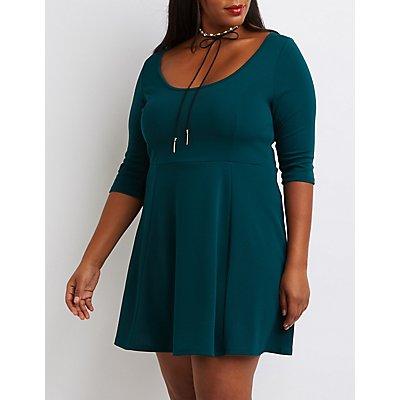 Plus Size Textured Skater Dress
