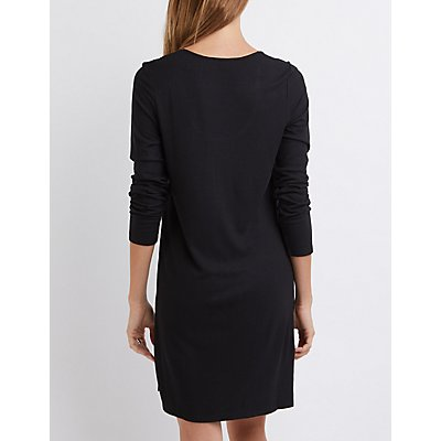 Ribbed Shift T-Shirt Dress