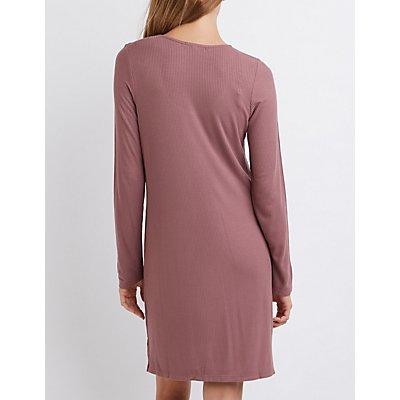 Ribbed Shift T-Shirt Dress