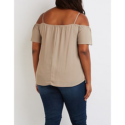 Plus Size Notched Cold Shoulder Top