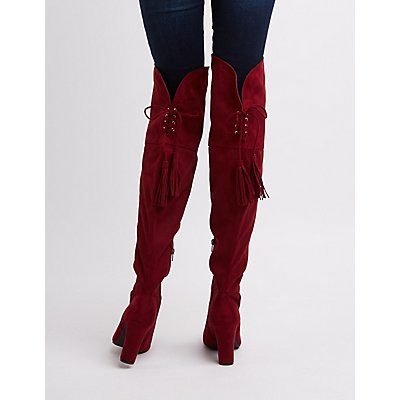Tassel-Tie Over-The-Knee Boots