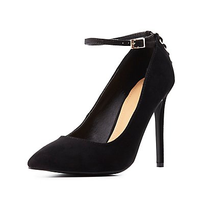 Lace-Up Accent Pointed Toe Pumps