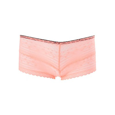 Plus Size Sheer Lace Cut-Out Cheeky Panties