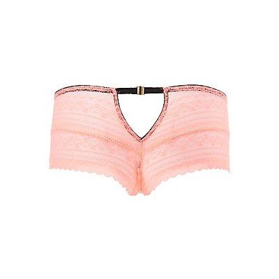 Plus Size Lace Cut-Out Boyshort Panties