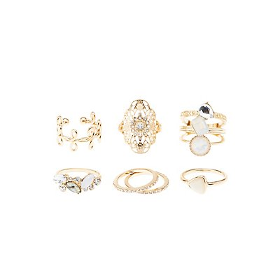 Embellished & Faceted Stone Rings - 7 Pack
