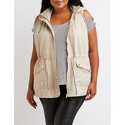 Plus Size Sherpa Lined Utility Vest