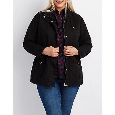 Plus Size Padded Anorak Jacket