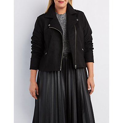 Plus Size Wool Blend Moto Jacket
