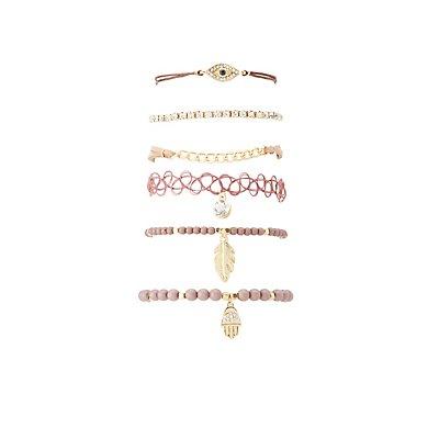 Hamsa Hand & Beaded Layering Bracelets - 6 Pack