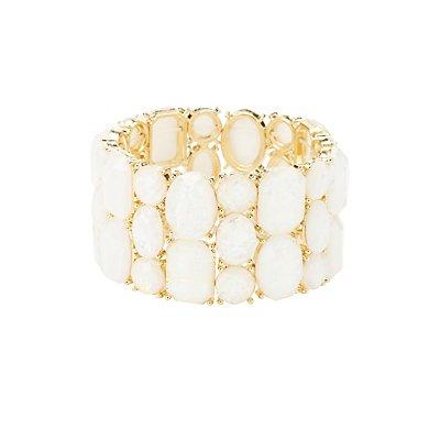 Iridescent Gemstone Stretch Cuff Bracelet
