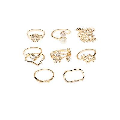 Pearl Bead & Rhinestone Rings - 9 Pack