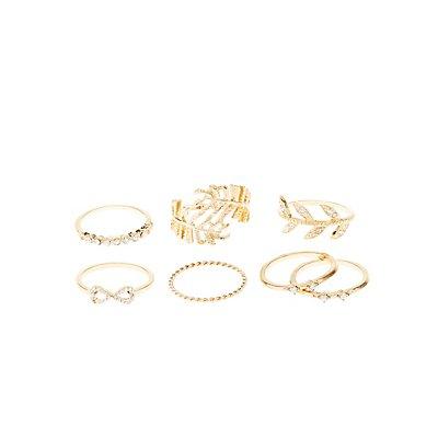 Earthy Embellished Rings - 7 Pack