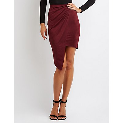Faux Suede Asymmetrical Wrapped Skirt
