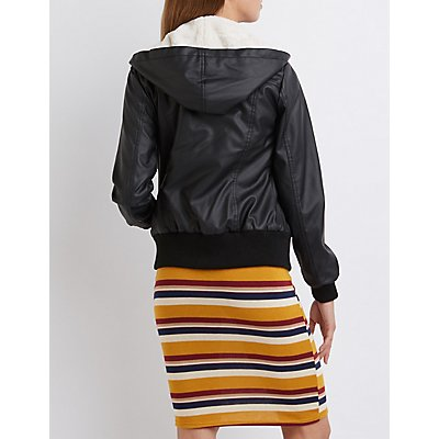 Faux Leather Convertible Bomber Jacket