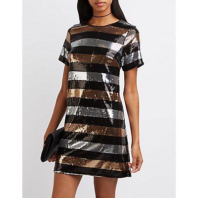 Striped Sequin Shift Dress