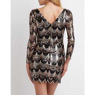 Scalloped Sequin Bodycon Dress